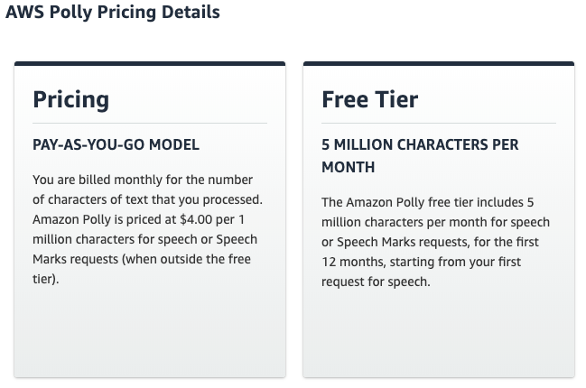 Image Shows Amazon Polly Paid and Free Pricing Tiers