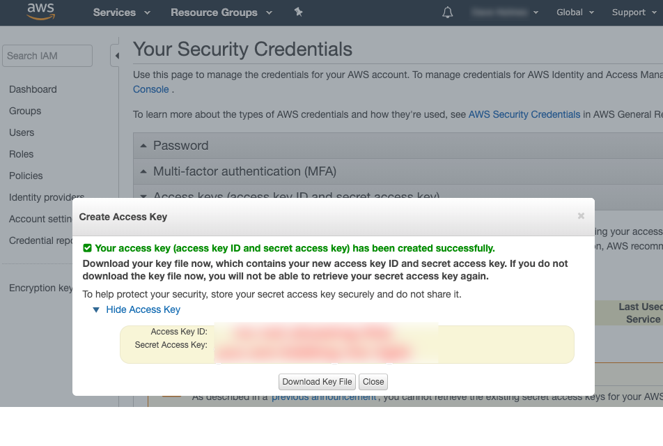 Image Shows How to Create Access Keys for Amazon AI WordPress Plugin